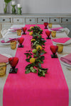 Pink Block Stripe Hand Printed Tablecloth