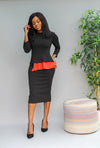 Megan Peplum Dress - Black