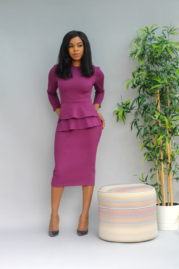 Purple, plum, midi, peplum,  3/4 sleeve, long sleeve, dress