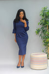 Amal Contrast Shoulder Dress - Navy