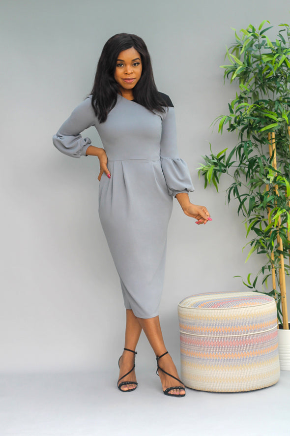Amal Contrast Shoulder Dress - Gray