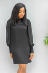 Thalia Ballon Sleeve Shift Dress - Black