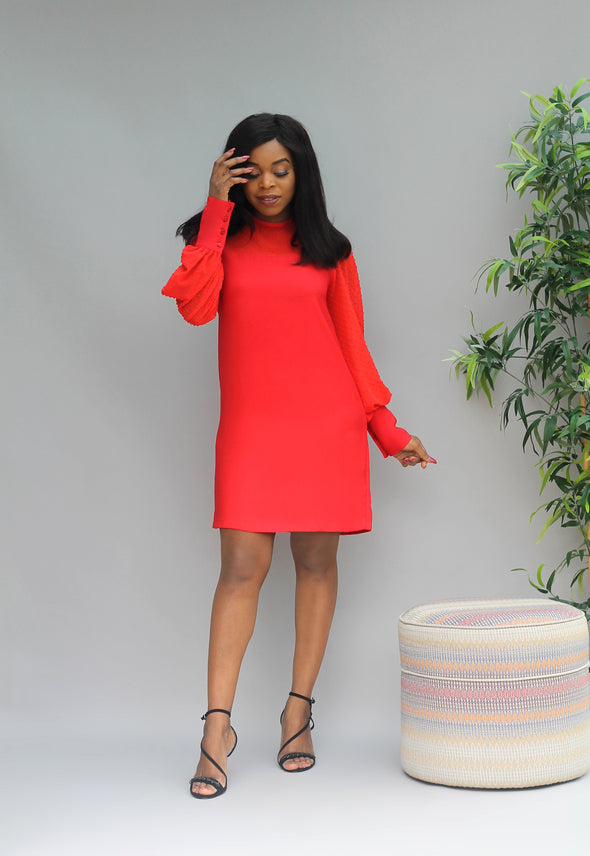 Thalia Ballon Sleeve Shift Dress - Red