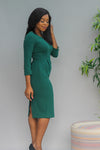Willow Pencil Pleated Dress - Emerald Green