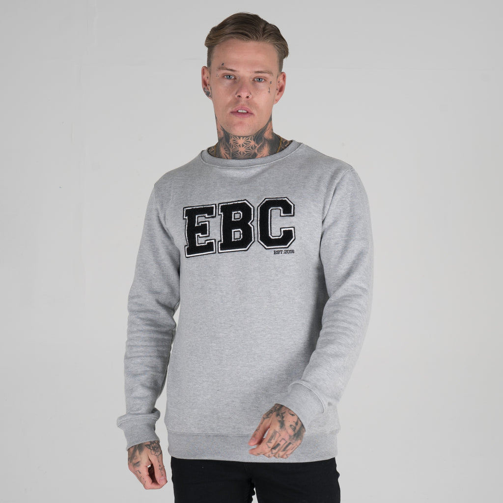Varsity Crewneck Sweater - Grey marl