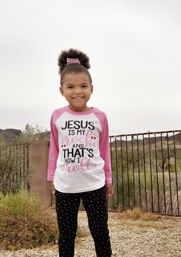 Jesus is my Rock And That's How I Roll Kids Raglan