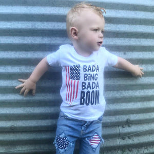 bada bing bada boom red white and blue tee