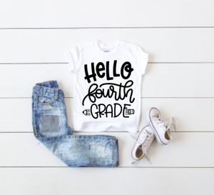 Hello Fourth Grade back to School Tee