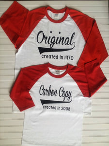 Original Carbon Copy Shirt Set Daddy and Me Raglans