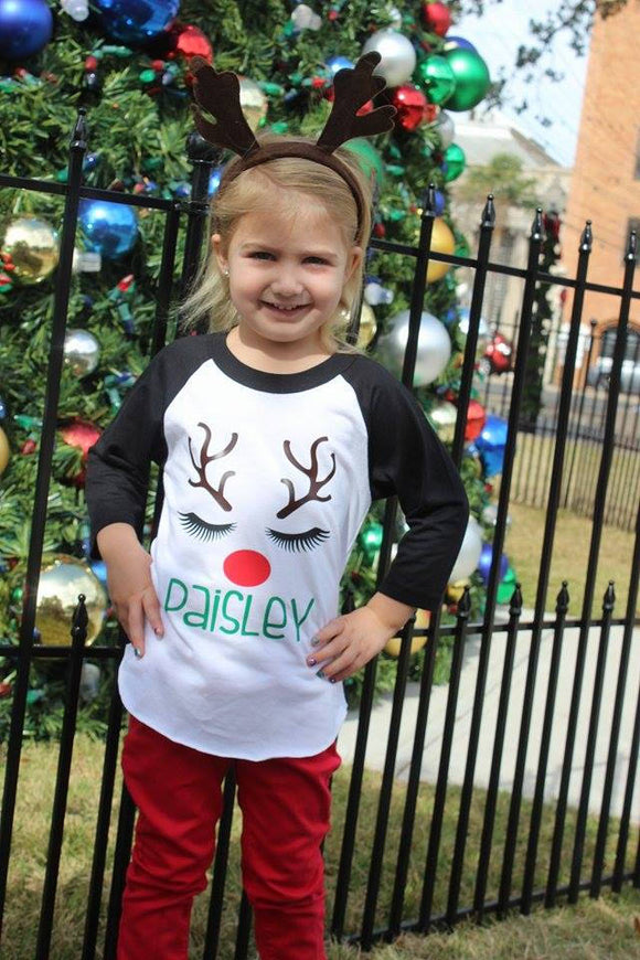 Girls Personalized Reindeer Shirt