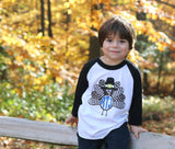 Boys Monogram Thanksgiving Turkey Raglan