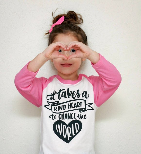 It Takes a Kind Heart to Change the World Kids Tee