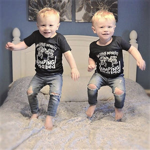 Two Little Monkeys Jumping on a Bed Toddler Tee
