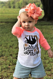 sloth infant raglan with flamingo sleeves
