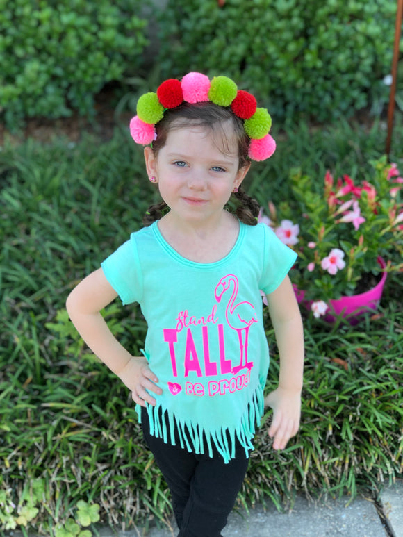 Stand Tall and Be Proud Toddler Flamingo Fringe Tee