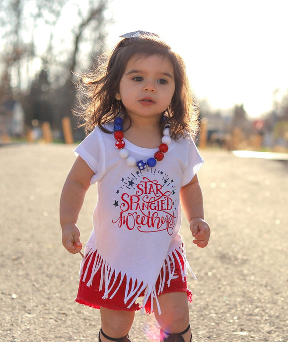 Star Spangled Sweetheart Fringe Tee