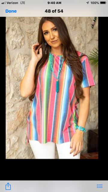 L&B Serape Short Sleeve Top (runs big)