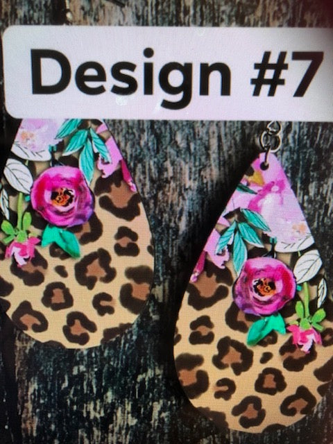 Leopard / Floral Oval Earrings