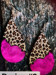 Leopard & Pink Oval Earrings