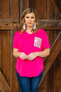 L&B Pink Top w/ Sequin Pocket (Runs Big)