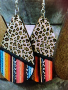 Leopard/Serape Oval Earrings