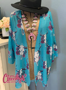 Cheekys Turquoise Steer Head Kimono One/Size fits most