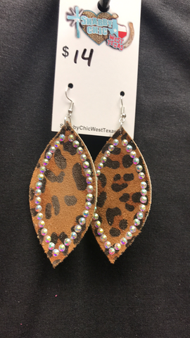 L&B Leather Earring w/ stones