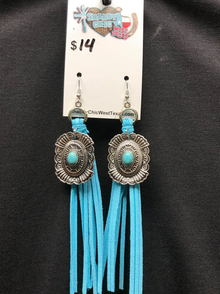 L&B Leather Fringe Earring w/ Concho