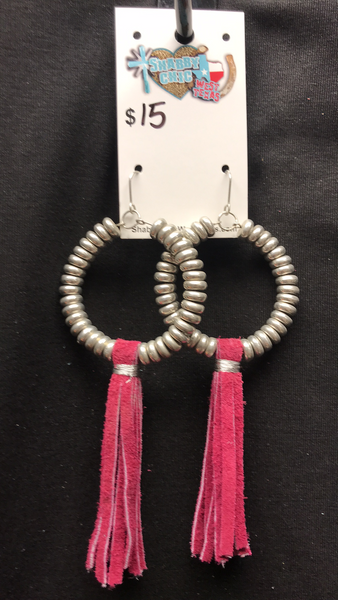 Crazy Train Round Earrings w/Fringe