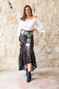 L&B Sequin Hi/Low Skirt (Black or Leopard)