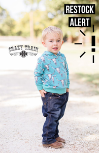 Crazy Train BULL CALF HOODIE *** TURQUOISE Toddler