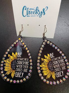 Cheekys Be Someone's Sunshine When The Skies Are Grey Sunflower Earrings
