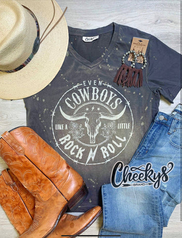 Cheekys Even Cowboys Like a Little Rock & Roll unisex fit tee