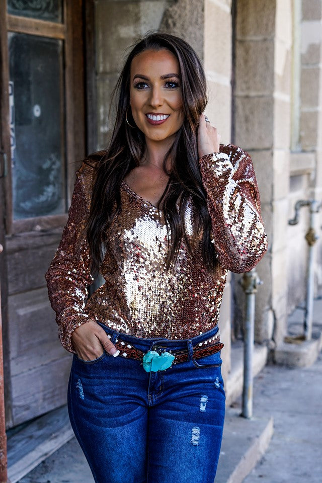 L&B Long Sleeve Sequin Body Suit Several Colors To Choose from
