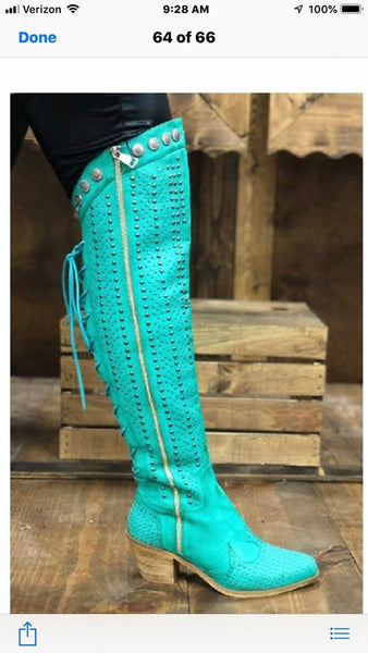 L&B Tall Boots In Turquoise or Black