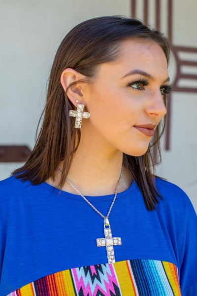 Cross Necklace & Cross Earrings Set Several colors to choose from