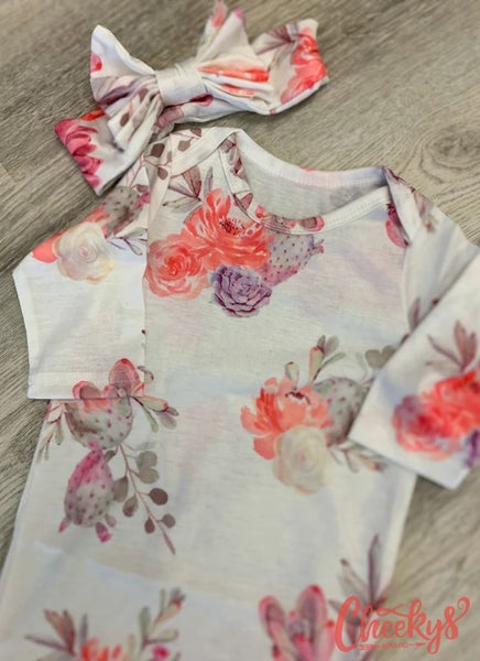 Cheekys Baby Gown with Matching Headband Several colors to choose from