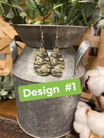 Camo Oval Earrings