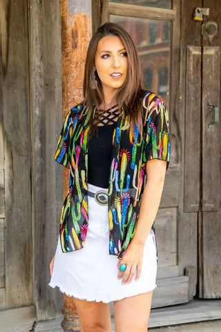 L&B Short Sleeve Kimono w/ a side slit & hi low hem line several colors to choose from