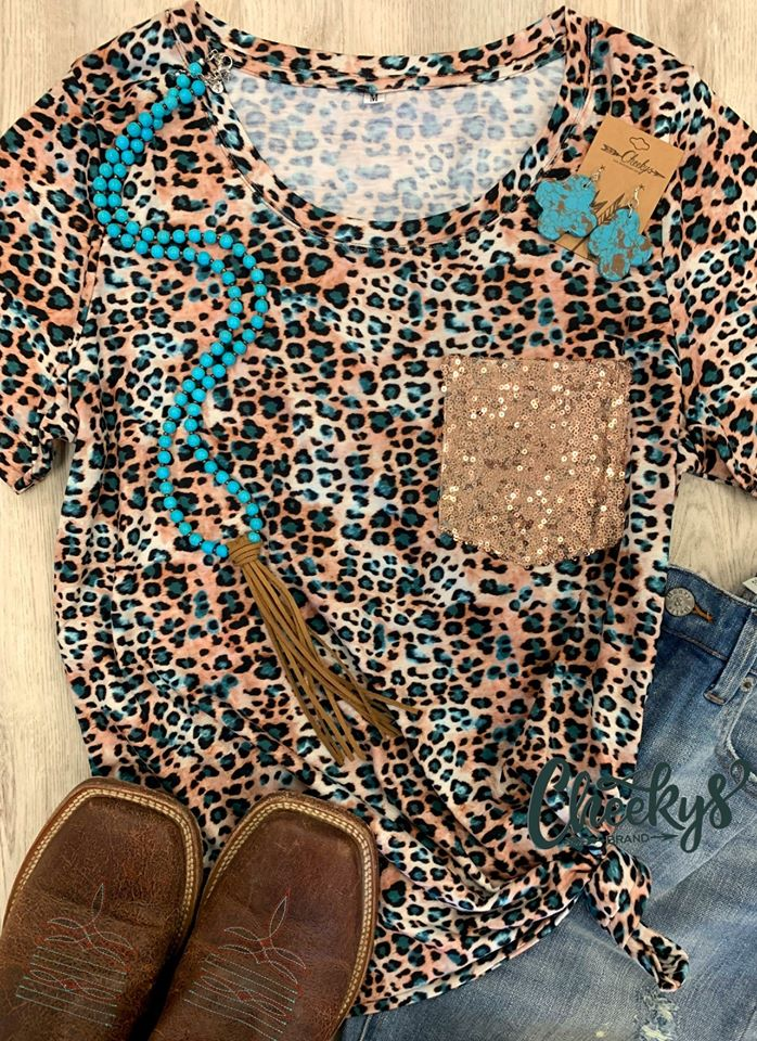 Cheekys Turquoise Leopard Top w/ Sequin Pocket