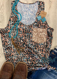 Cheekys Turquoise Leopard Tank w/ Sequin Pocket