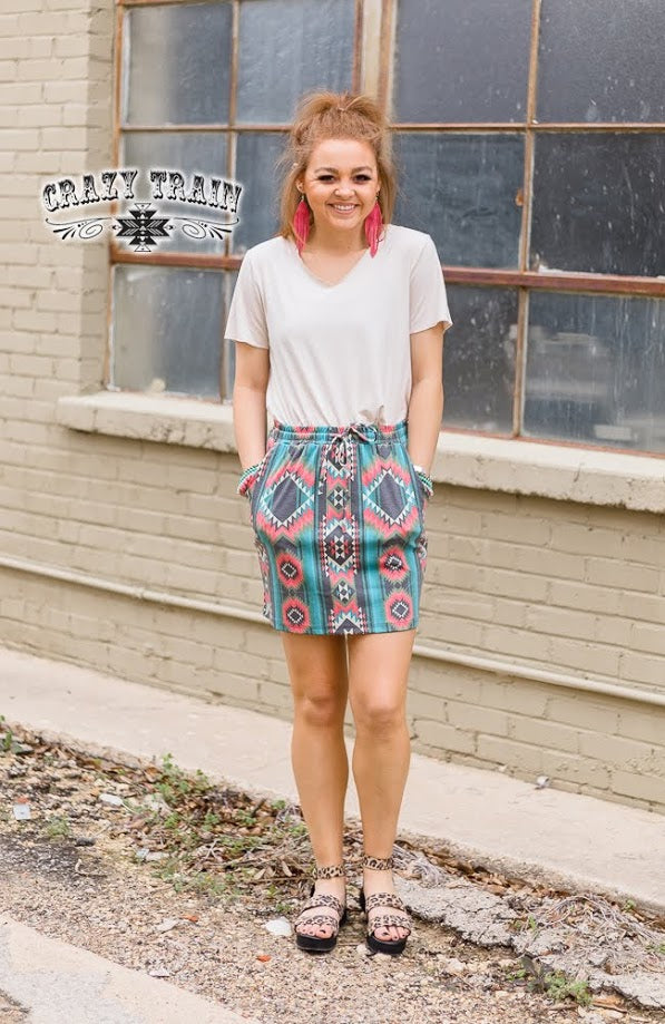 Crazy Train THE T-SHIRT SKIRT ** MAUVE AZTEC