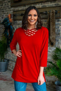 L&B Criss Cross Top 3/4 sleeve (Runs big) Several Colors To Choose From