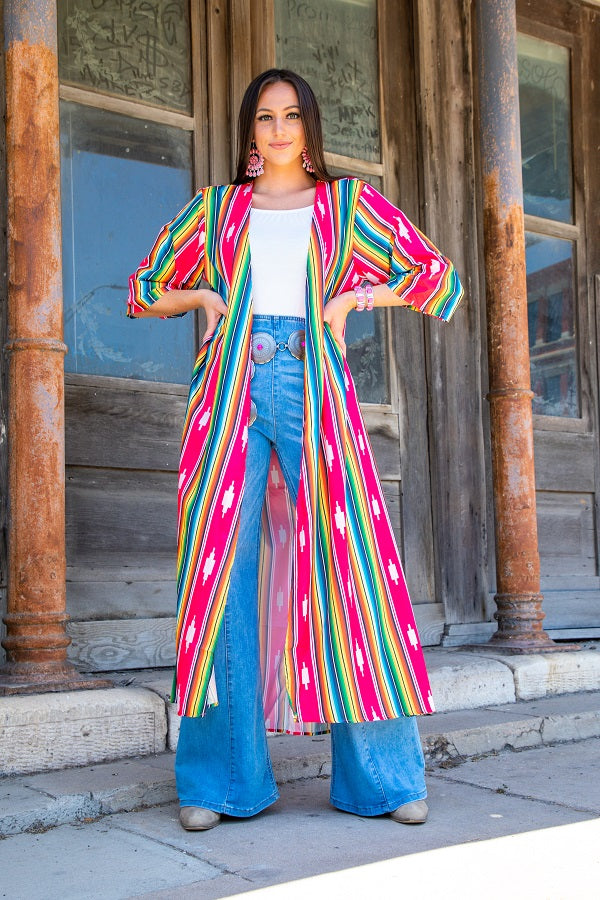 L&B Long Pink Serape & Aztec Duster with side slits