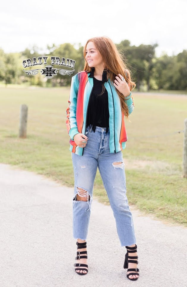 "Crazy Train ""Back Road"" Serape Bomber Jacket"