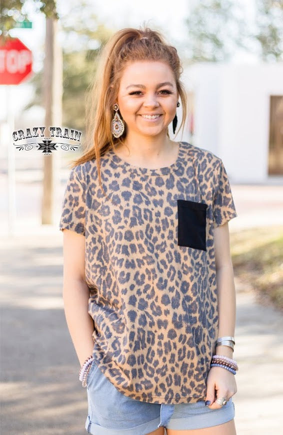 Crazy Train BASIC BABE TOP ** LEOPARD / BLACK Pocket