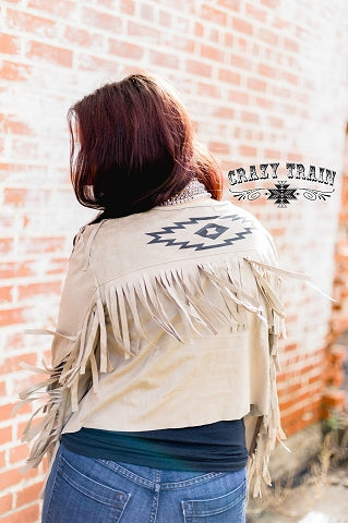 Crazy Train Buffalo Bill Suede Short Fringe Jacket with Aztec Design On The Back. 2 colors to choose from