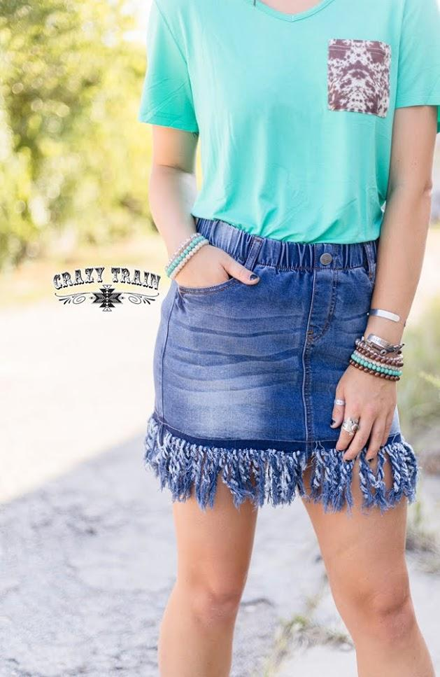 "Crazy Train ""So Fray Me"" Jean Skirt TTS has stretch"