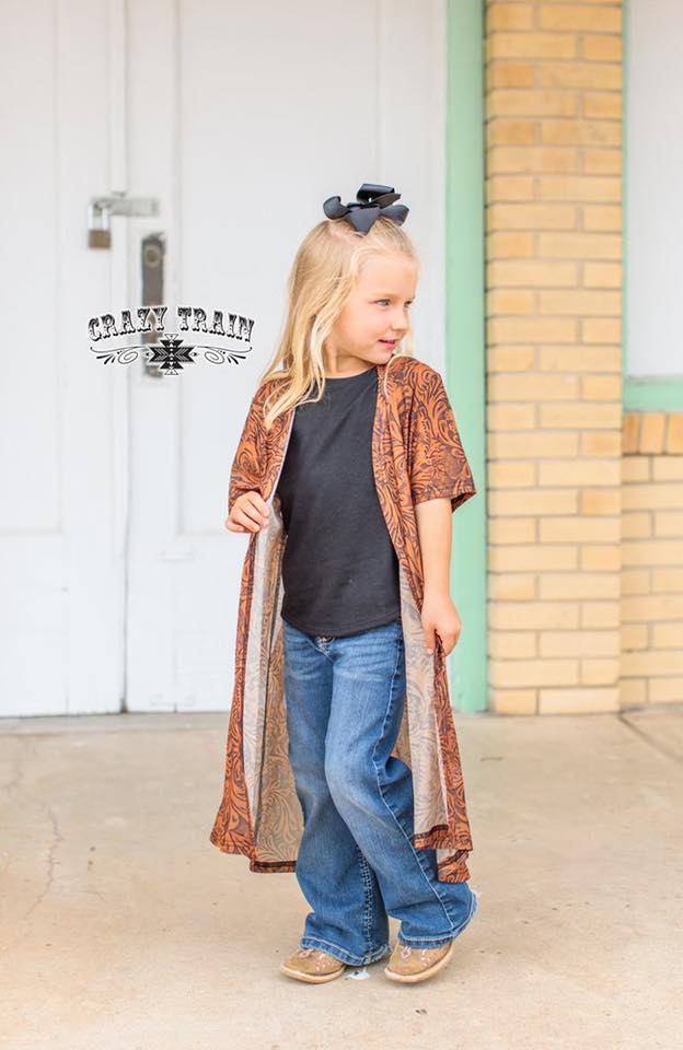"Crazy Train KIDS Brown Tooled Leather Design Duster ""Lonestar"""