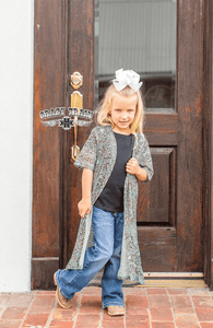 "Crazy Train KIDS Turquoise Tooled Leather Design Duster ""Paisley Praise"""
